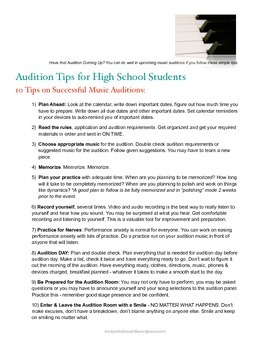 Audition Tips for High School Students: 10 Tips on Successful Music Auditions