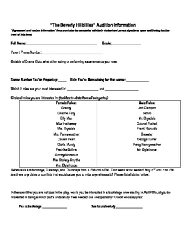 Audition for Play Production- Permission slip and information form