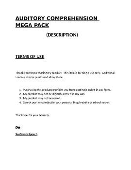 Auditory Comprehension Mega Pack (Description)