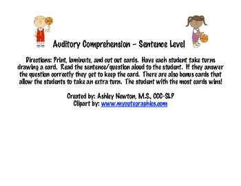 Auditory Comprehension - Sentence Level - Basketball