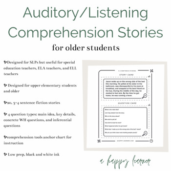 Auditory Comprehension Short Stories 4 Sentences Distance Learning
