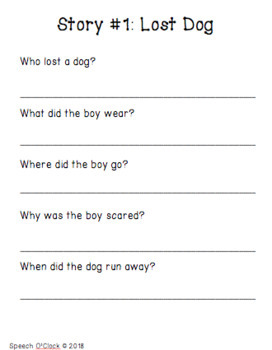 Auditory Comprehension Short Stories: Wh- Questions
