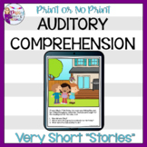 No Print Auditory Comprehension: Very Short Stories | Teletherapy