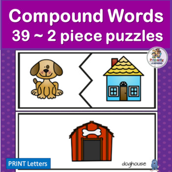 Auditory Discrimination ~ Compound Words:  2 piece puzzles