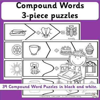Compound Words Activities: 3 piece puzzles (SASSOON Font)