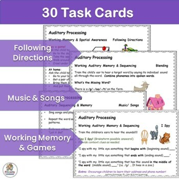 Auditory Processing Task Cards for Preschool & Kindergarten