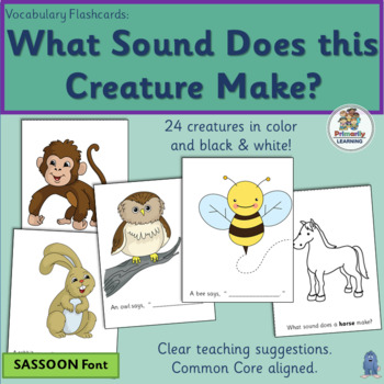 Vocabulary Flashcards: What Sound Does this Animal Make? (