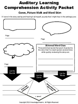 Auditory Learners- Reading Comprehension Activity Workbook