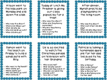 Auditory Memory - Listening Comprehension Cards - Version 1