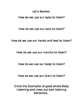 Auditory Memory, Processing, & Whole Body Listening