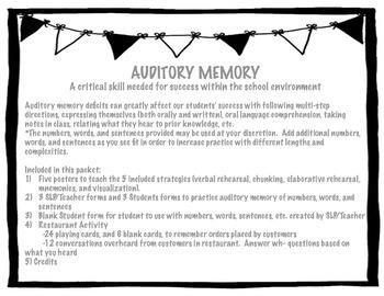 Auditory Memory - Strategies, Practice, Activities!