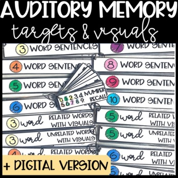 Auditory Memory Strips: Targets and Visuals / Auditory Processing Speech Therapy
