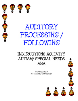Auditory Processin Activities and Following Instructions ABA/Special Needs