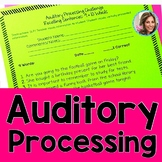 Auditory Processing | Speech and Language Therapy | Auditory Memory