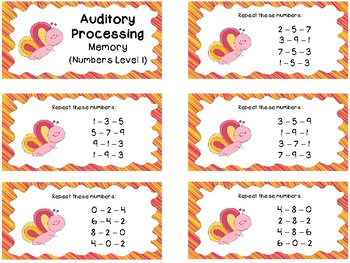 Auditory Processing Cards - Memory - Numbers - Level 1