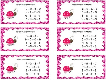 Auditory Processing Cards - Memory - Numbers - Level 2