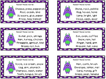 Auditory Processing Cards - Memory - Related Words