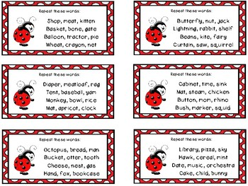 Auditory Processing Cards - Memory - Words - Level 1