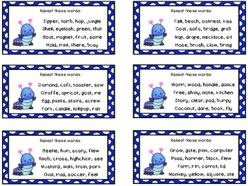 Auditory Processing Cards - Memory - Words - Level 2