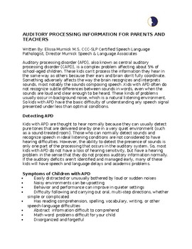Auditory Processing Disorders Parent Handout