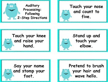 Auditory Processing: Following 2-Step Directions Cards