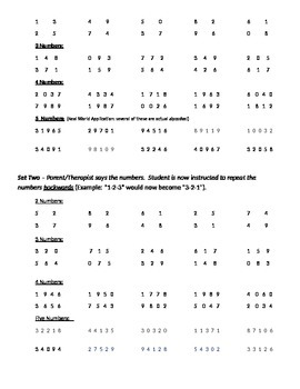 Auditory Processing - Repeating Numbers (Backwards and Forward) + Parent Handout