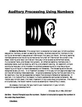 Auditory Processing - Repeating Numbers (Backwards and For