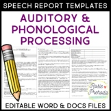 Auditory & Phonological Processing Speech Evaluation Report Templates