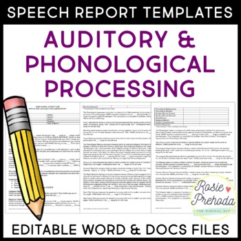 Auditory & Phonological Processing Speech Evaluation Repor