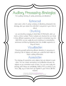 Auditory Processing Strategies for Auditory Memory of Words and Directions