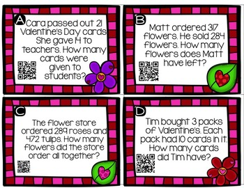 February Word Problems QR codes: