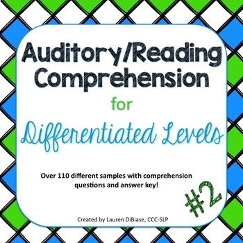 Auditory/Reading Comprehension for Differentiated Levels - Second Edition
