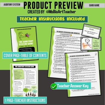 """Auditory System Card Game - """"I have... Who has...?"""" (Grades 9-12)"""