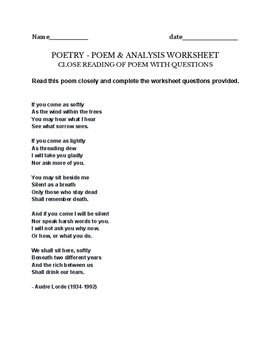 Audre Lorde - If you Come as Softly - poem - assignment / project /close reading