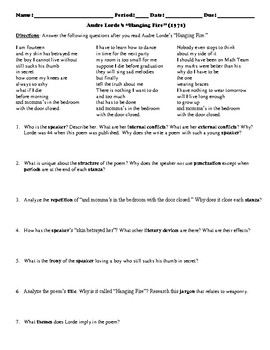 "Audre Lorde's ""Hanging Fire"" Poem Study Guide and Multiple Choice Quiz"