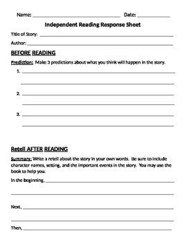 Audrey Wood Menu and Reading Response Sheets 2