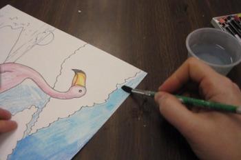 Audubon Flamingo Background Painting