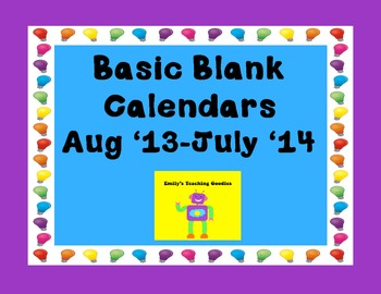 Aug 2013-July 2014 Basic Blank Calendars