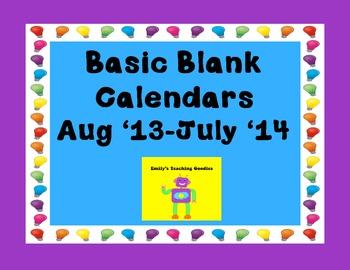 Aug 2013-July 2014 Basic Blank Calendars