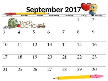 Editable Aug. 2017- Aug. 2018 Minion School Calendar