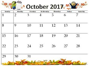 Aug. 2017-Aug. 2018 Minion School Calendar