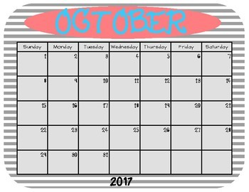 Aug 2017-June 2018 Calendar in Navy, Coral, Yellow, Teal, and Gray