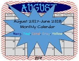 Aug 2017-June 2018 Calendar in Navy, Coral, Yellow, Teal,