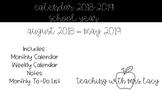 Aug 2018 - May 2019 Calendar