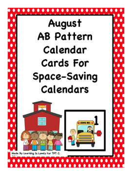 August Calendar Cards With AB Pattern: Fit Small and Regular Calendars