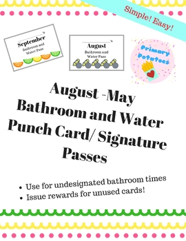 Aug-May Bathroom Water Pass Punch Cards