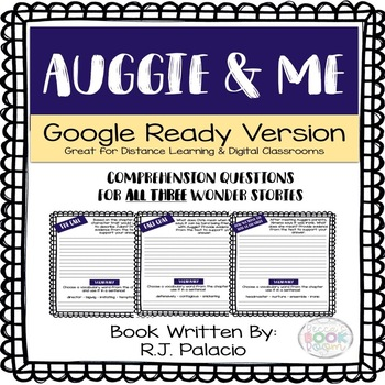 Auggie And Me Book Study Worksheets Teaching Resources Tpt