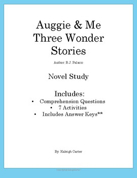 Auggie & Me Novel Study
