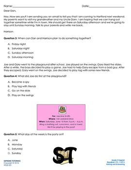 Augmented 3rd Grade English Worksheet #2 - Asking and Answering