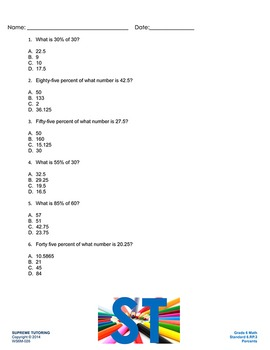 Augmented 6th Grade Math Worksheet - Percents